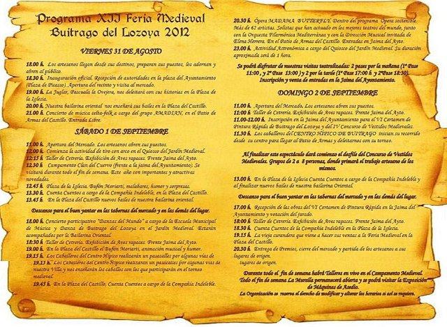 programa de la feria medieval buitrago